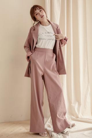 OL Wide-Leg Trousers In Dusty Pink