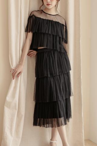 Layered Tulle Skirt In Black