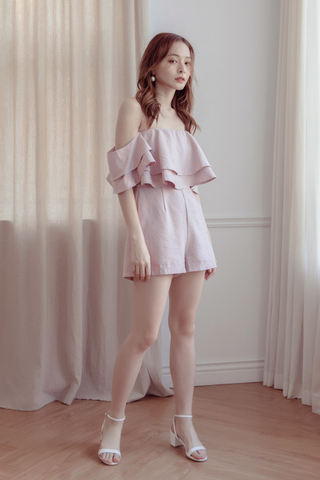 Off-The-Shoulder Ruffle Romper In Pink
