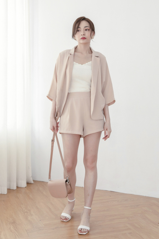 Chiffon Cardigan + Shorts Set In Beige