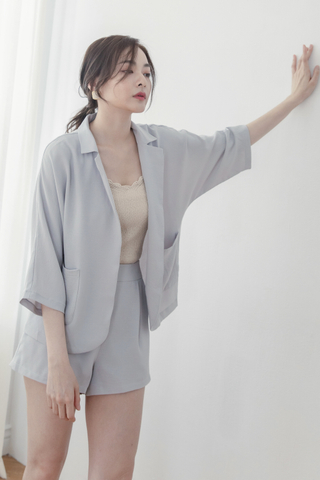 Chiffon Cardigan + Shorts Set In Blue