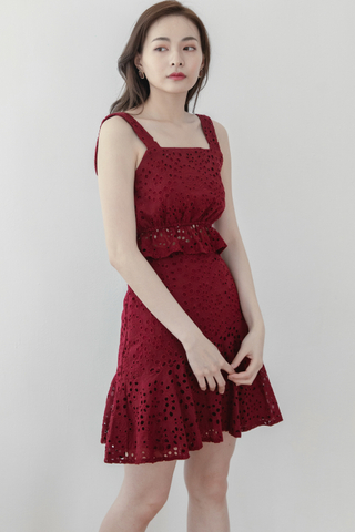 Crochet Lace Crop With Skirt Set In Red