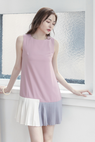 Pleated Trim Dress In Pink