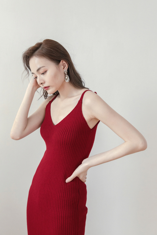 Knitted Cami Dress In Red