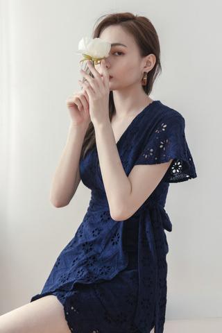 Crochet Surplice Dress In Dark Blue