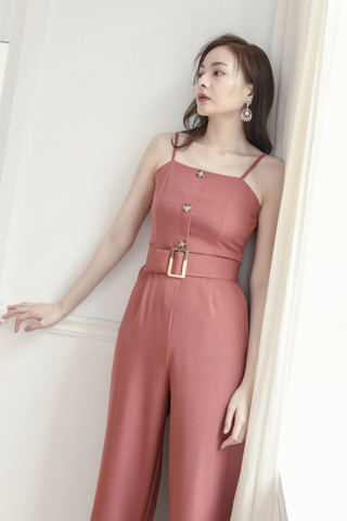 Long-line Belted Jumpsuit In Brick Red