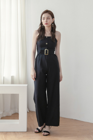 Long-line Belted Jumpsuit In Black