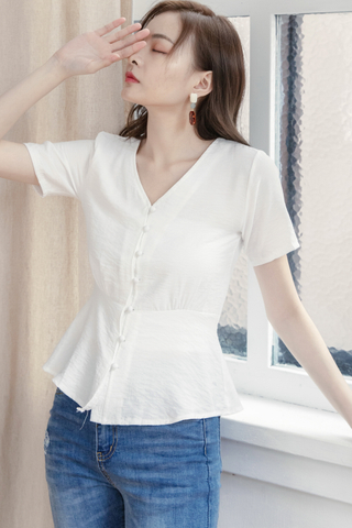 Button-up Blouse In White