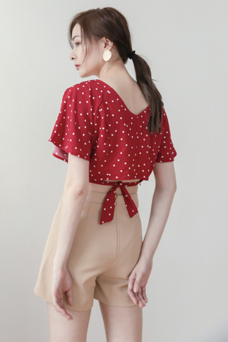 Polka-dots Flare Top In Red