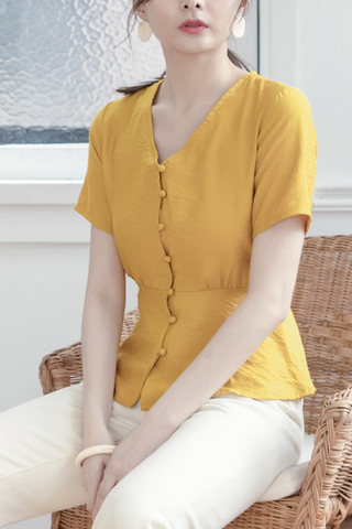 Button-up Blouse In Yellow