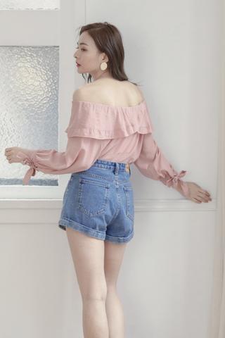 Ruffled 2-Ways Top In Pink