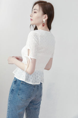 Button-up Crochet Blouse In White