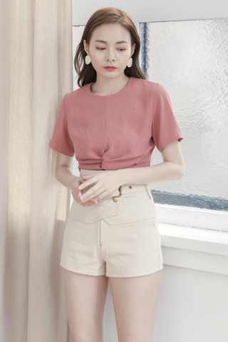 Front Twisted Crop Top In Rose Tea