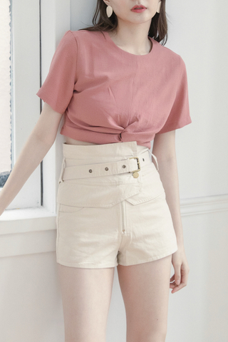 Wrapped High-waist Shorts In White