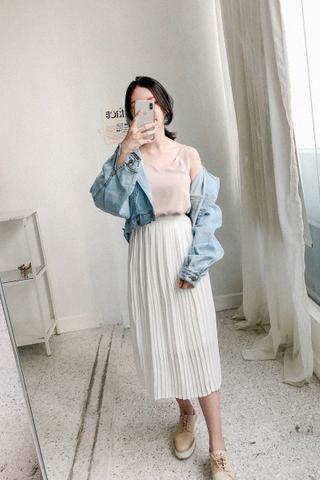 Pleated Midi Skirt In White