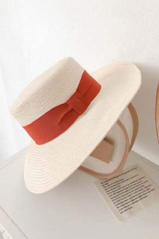 Ribbon Straw Hat In Brick Red