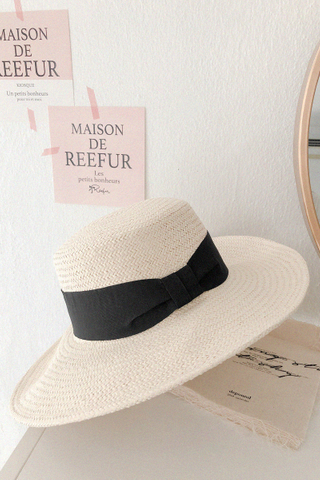 Ribbon Straw Hat In Black