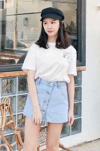 Button-up Denim Skirt Pants