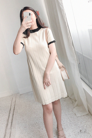 Knitted Striped Dress In White