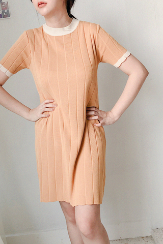 Knitted Striped Dress In Mustard