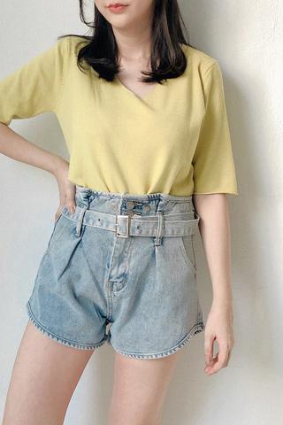 Belted Paperbag Denim Shorts
