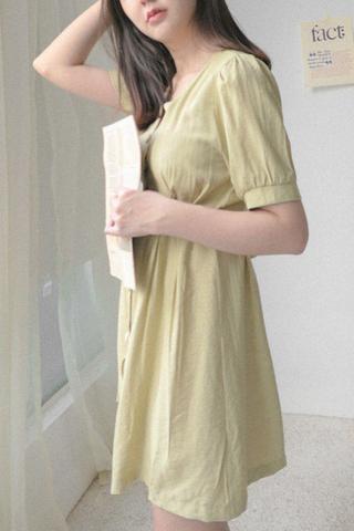 Babydoll Sleeve Mini Dress In Avocado
