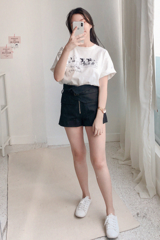 Wrapped High-waist Shorts In Black