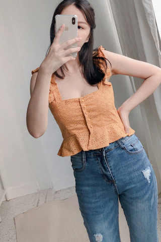Crochet Ruffled Crop Top In Mustard