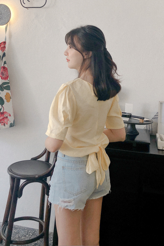 Puffy Sleeve Ribbon Top