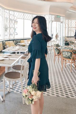 Surplice Ruffle Trim Dress In Green