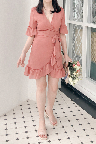 Surplice Ruffle Trim Dress In Rose Tea