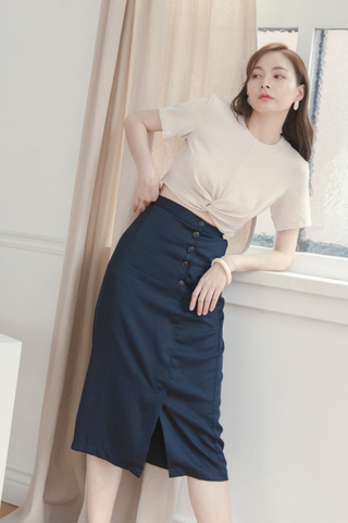 Slit Midi Skirt In Dark Blue