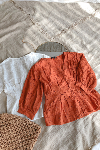 Hannah Crochet Blouse In Orange