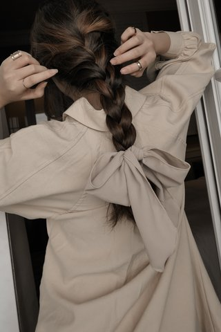 Bow Hair Tie in Nude