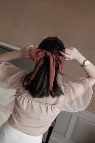 Bow Hair Tie in Maroon