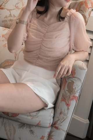 Mesh Ruched Top in Pink