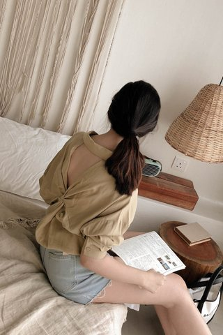 Back Twisted Blouse In Pale Olive