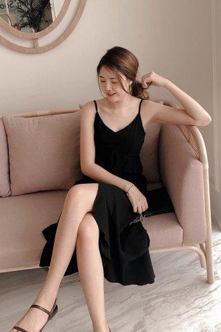Cami Ruffle Trim Dress in Black