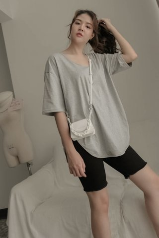 Boyfriend Slit Tee in Grey
