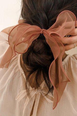 Mesh Bow Hair Tie in Tea Rose
