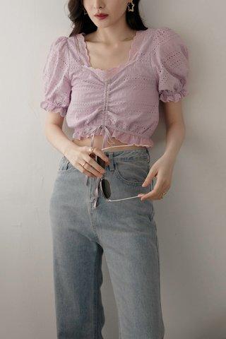 Teana Square-Neck Crochet Top in Lavender