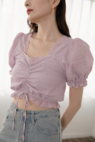 Teana Square-Neck Crochet Top in Lavender