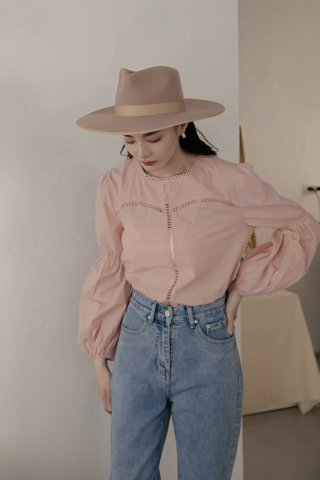 Lova Puff-Sleeve Blouse in Pink