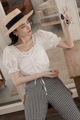 Teana Square-Neck Crochet Top in White