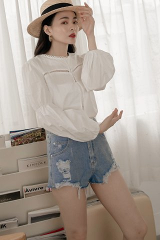 Lova Puff-Sleeve Blouse in White
