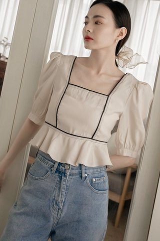 Verra Puff-Sleeve Blouse in Cream
