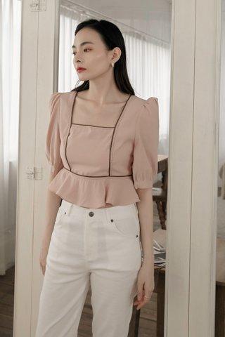 Verra Puff-Sleeve Blouse in Pink