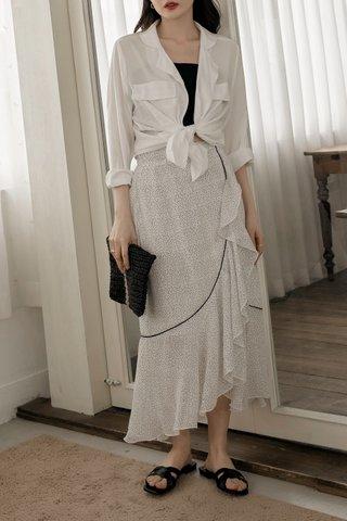 Dotted Frill-hem Wrap Skirt in White