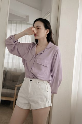 Double Pockets Blouse in Purple