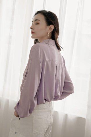 Double Pockets Blouse in Purple